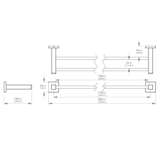 LR2485 LR Elemental Double Towel Rail 800mm_Stiles_TechDrawing_Image
