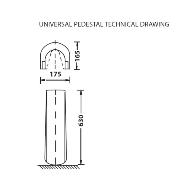 PB0108A Betta Universal full pedestal_Stiles_TechDrawing_Image