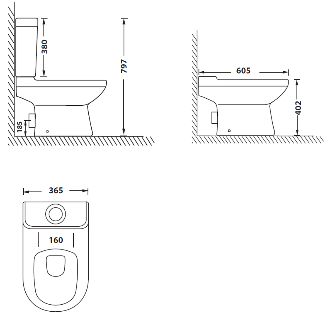 TC0M408A Betta Shortland CC suite with soft close seat and cover_Stiles_TechDrawing_Image
