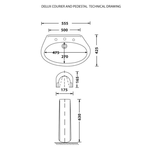 WBDC0208A Betta Courier basin_Stiles_TechDrawing_Image