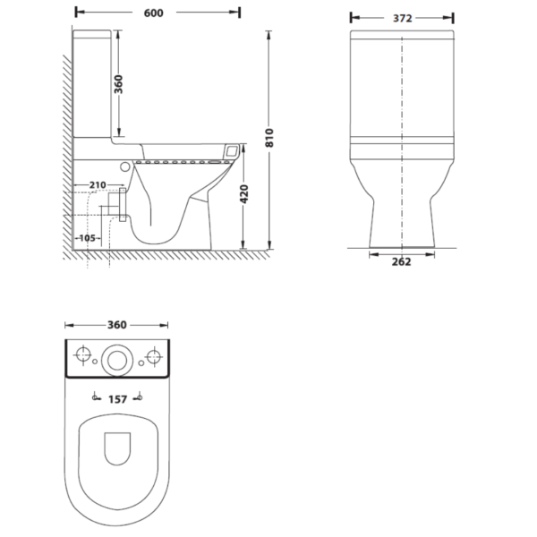 XTEUB16A Betta Euro BTW CC Suite with soft close seat and cover_Stiles_TechDrawing_Image