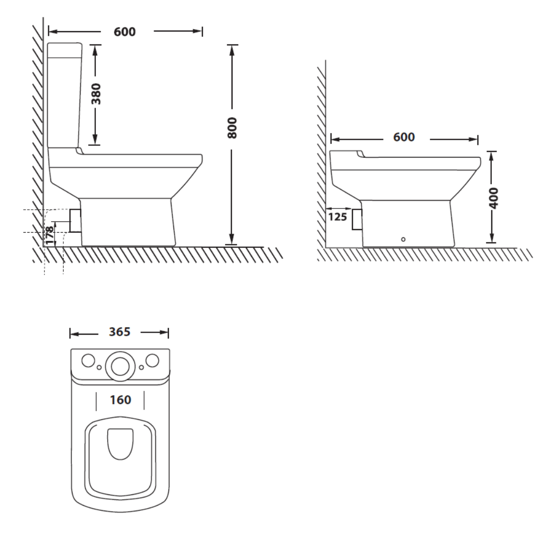XTMAS08A Betta Compact Marina CC suite with soft close seat and cover_Stiles_TechDrawing_Image